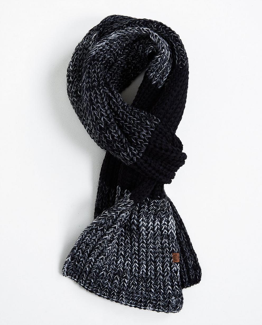Warme gebreide sjaal - met zwart-witte blokstrepen - JBC